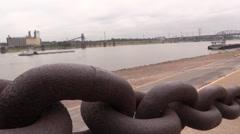Barge on Mississippi River - stock footage