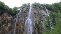 Big Waterfall in Plitvice National Park in Croatia - stock footage