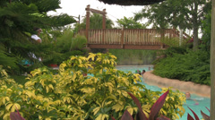 Tropically Themed Garden Water Park Lazy River Stock Footage