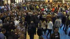 Crowd at exhibition grounds - stock footage