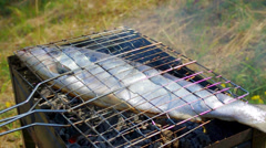 Fish trout on the grill. - stock footage