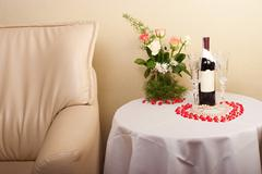 hotel room for newlyweds - stock photo