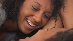 Sweet black couple talking to each other Stock Footage