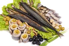a fish set with vegetables - stock photo