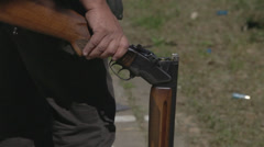 Hunting  gun reloaded Stock Footage