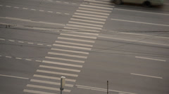 Multi-lane urban road in the summer. top view - stock footage