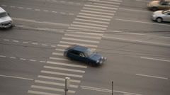 Multi-lane urban road in the summer. top view Stock Footage