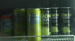 Soft drinks in Bar  refrigerator. - stock footage