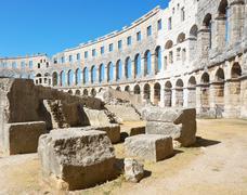 The old amphitheatre in pula - croatia Stock Photos