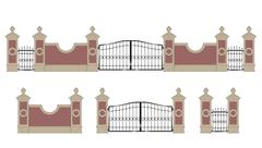 forged iron gate with pillars - stock illustration