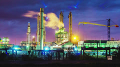 Night view of a plant for the ammonia production timelapse Stock Footage