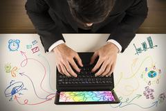 multitasking businessman - stock photo