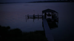 Boathouse at Night 2 Stock Footage