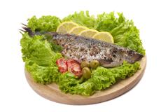 a composition with marinated herring - stock photo