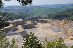 View for a quarry stone mining Stock Photos