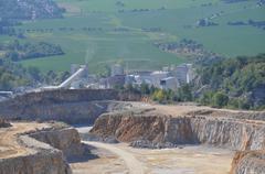 Quarry stone mining - stock photo