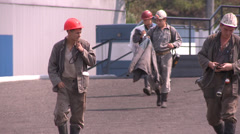 Minners go to shaft Stock Footage