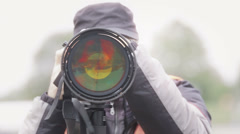 Detail of super telephoto lens Stock Footage