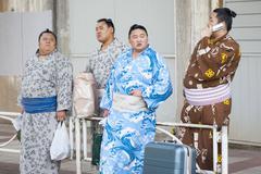 Off-Duty Sumo Wrestlers Stock Photos