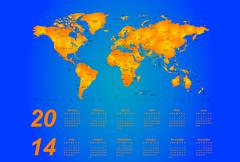 Timezone calendar 2014 - stock illustration