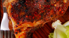 Meat on wooden plate : roast shoulder on wood Stock Footage