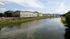 Florence city and river Arno, Italy, Tuscany Stock Footage
