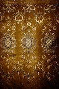 grunge golden floral texture fabric - stock photo