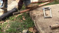 Stock Video Footage of Plumber straiting a pipe