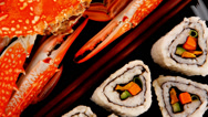 Stock Video Footage of Sushi Maki Roll with voiled crab
