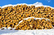 Stock Photo of stacked pile of firewood
