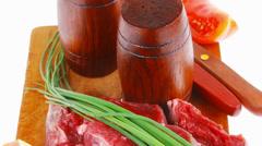 Savory : bloody beef raw steak Stock Footage