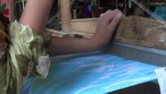 Traditional silk weaving in Uzbekistan Stock Footage