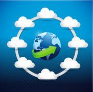 globe cloud computing network diagram concept - stock illustration