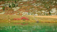 Beautiful mountain and lake under Alps grundsee Stock Footage