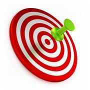 Thumbtack On Red Target - stock illustration