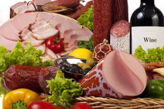 a composition of meat and vegetables - stock photo