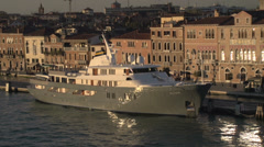 Venice skyline yacht Altair dolly shot Stock Footage