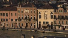Venice buildings facing lagoon dolly, tight frame #2 Stock Footage