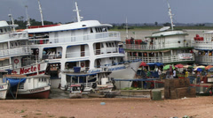 Traditional ferry boat on the amazon Stock Footage
