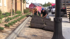 New Home Building boom, rolled sod Stock Footage
