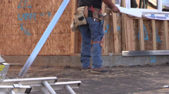 New Home Building boom, metal worker Stock Footage
