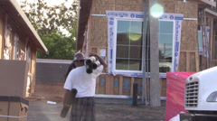 New Home Building boom, construction labor - stock footage