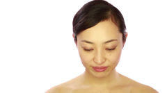 Asian woman skin care white background Stock Footage
