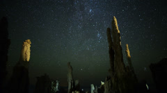 4K Mono Lake Perseid Meteor Shower 03 Zoom In Milky Way Time Lapse Stock Footage