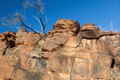 Chambers gorge aboriginal engraving site. flinders ranges. south australia Stock Photos