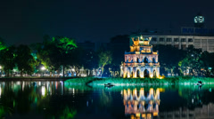 1080 - Turtle Tower on Hoan Kiem lake - Hanoi, Vietnam Stock Footage
