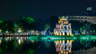 Stock Video Footage of 1080 - Turtle Tower on Hoan Kiem lake - Hanoi, Vietnam