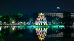 1080 - Panning - Turtle Tower on Hoan Kiem lake - Hanoi, Vietnam Stock Footage
