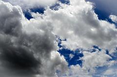 Fuzz cloud and deep blue sky - stock photo