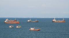 Bulk cargo ship moored in the sea. Stock Footage